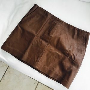 Zara Brown Leather Mini Skirt - sz L